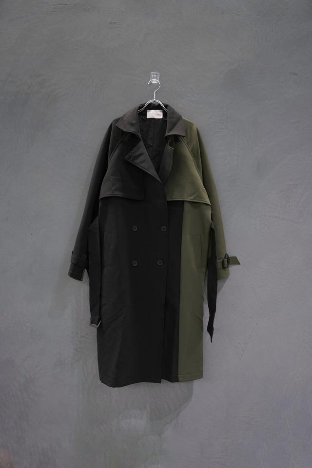 【再入荷】℃℃℃ switch color design trench coat Black×khaki