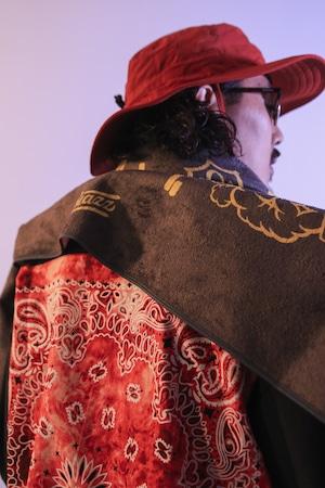 SMOKING 6B BIG BANDANA S/S Open Collar Shirt [ BLACK x RED ] *Special