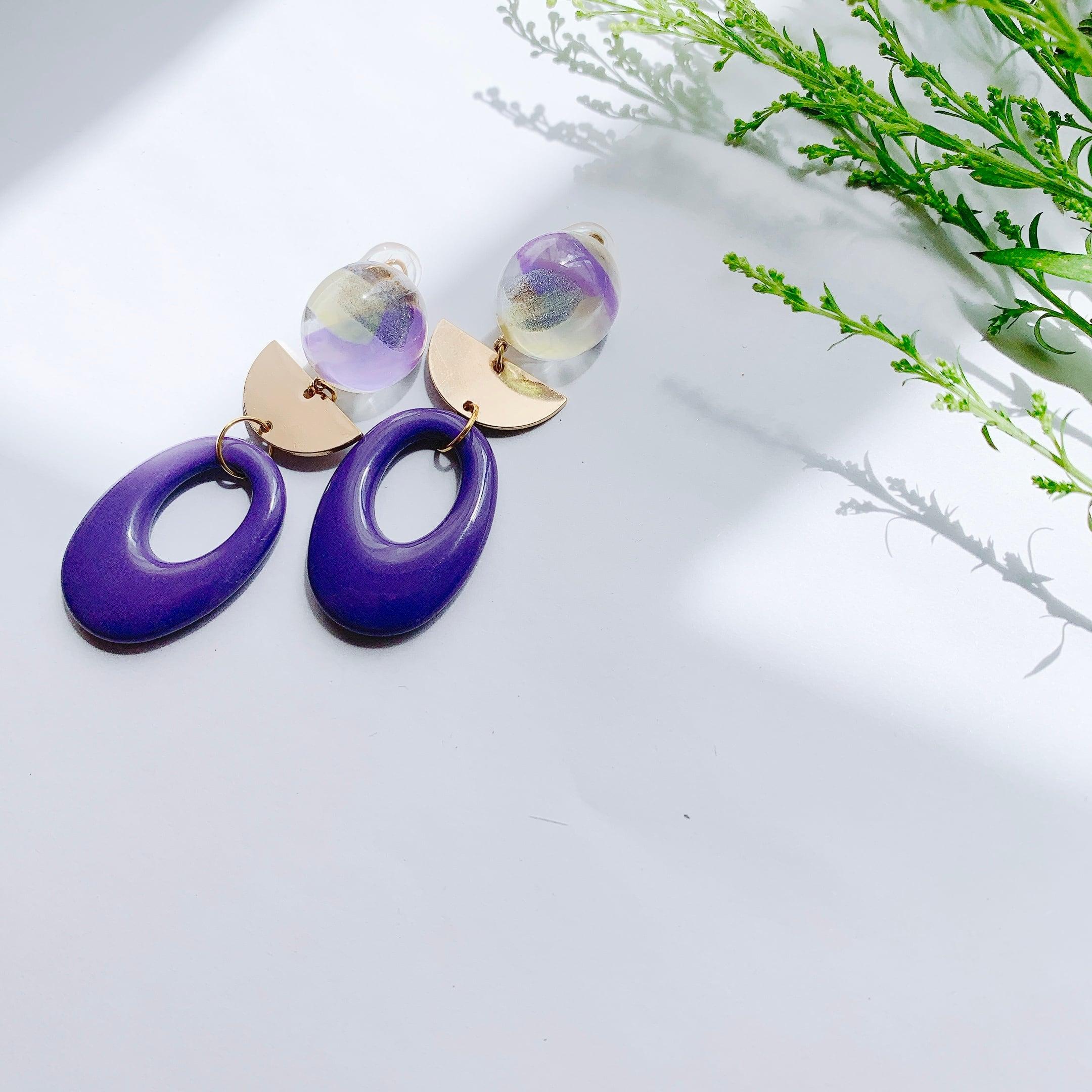 """"""" Earrings NO.danoan-3″ ペイントパープルチャーム"""