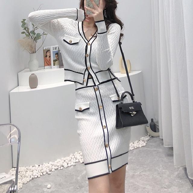 セットアップ ニットトップス+スカート シングルブレスト 長袖 流行兆し ホワイト ブラック