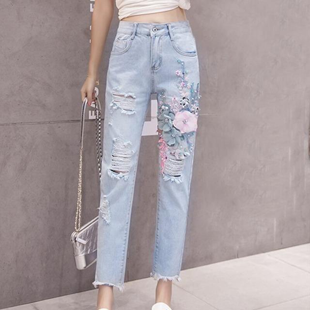 ボタンフライ刺繍 ミッドウエストジーンズ