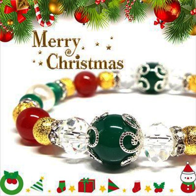 【Happy Xmas♪】天然石グリーンメノウ&カーネリアン クリスマスデザインブレスレット(10mm)★