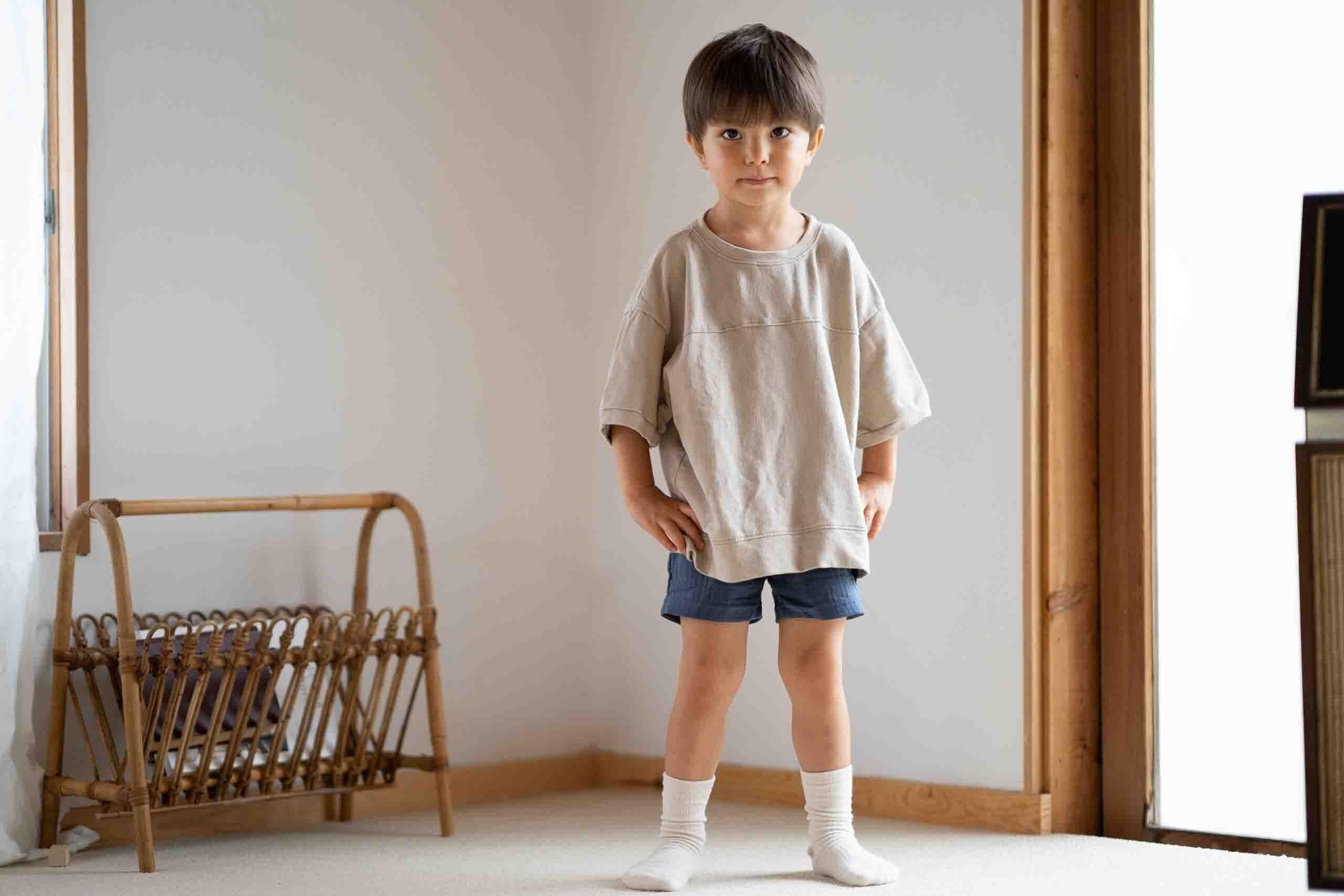 ベージュスウェットTシャツ+ショートパンツセット