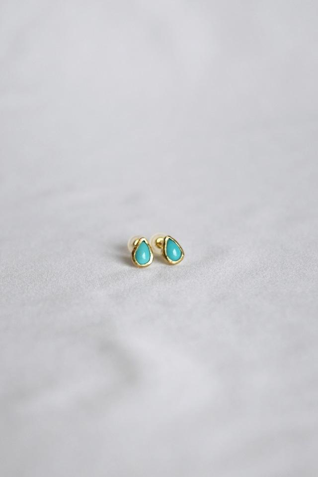 K18 Turquoise Studs Earrings -seed 18金ターコイズスタッズピアス(種)