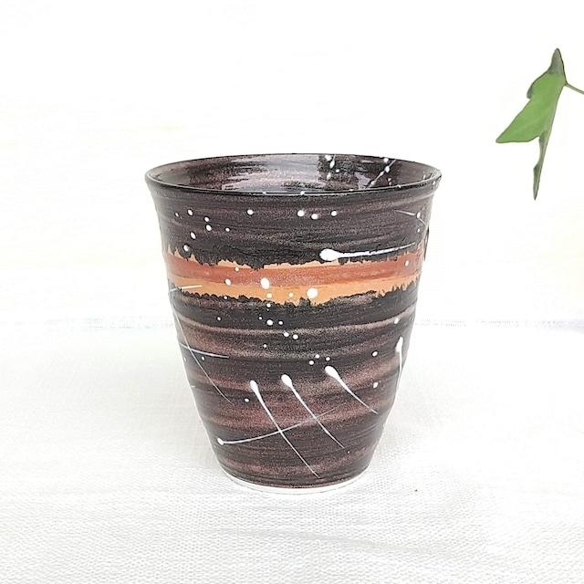 秀島窯作 光彩釉 銀河 焼酎カップ (ボルドー)