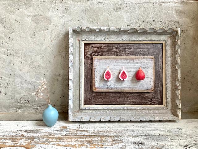 陶製オブジェ壁掛け ビンテージフレーム