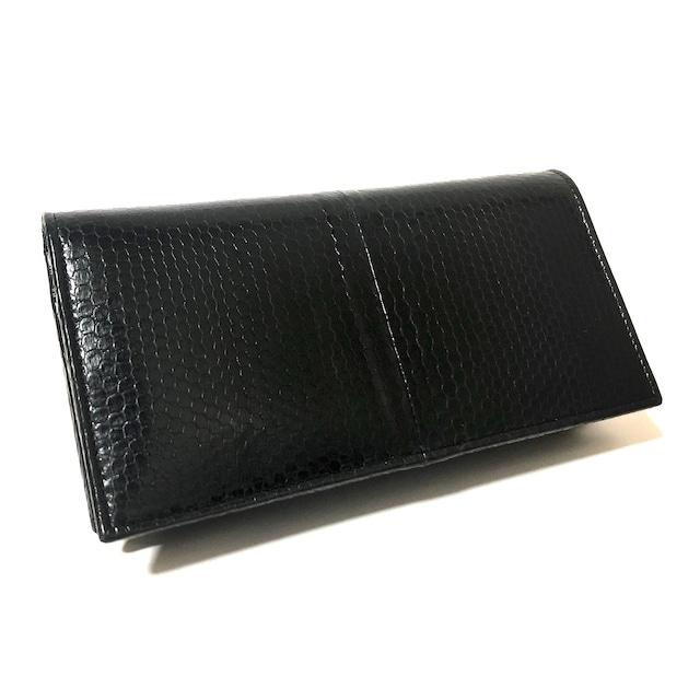 ウミヘビ 海蛇 二つ折り財布 シースネーク 長財布ブラック