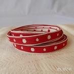 正絹 紅白ドットの三分紐