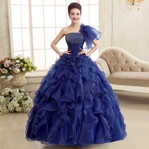 カラードレス ロングドレス ネイビー 紺 ワンショルダー 結婚式二次会 発表会 披露宴 演奏会 大きいサイズ  小さいサイズ 8002