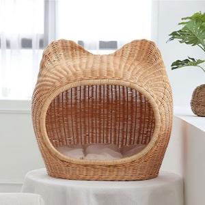 rattan pet house A / ラタン ペットハウス クッション付き キャットドッグ 猫 犬 韓国 インテリア 雑貨
