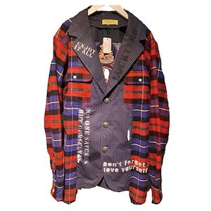 【GAMEOVER】釈迦柄チェックシャツドッキングテーラードジャケット