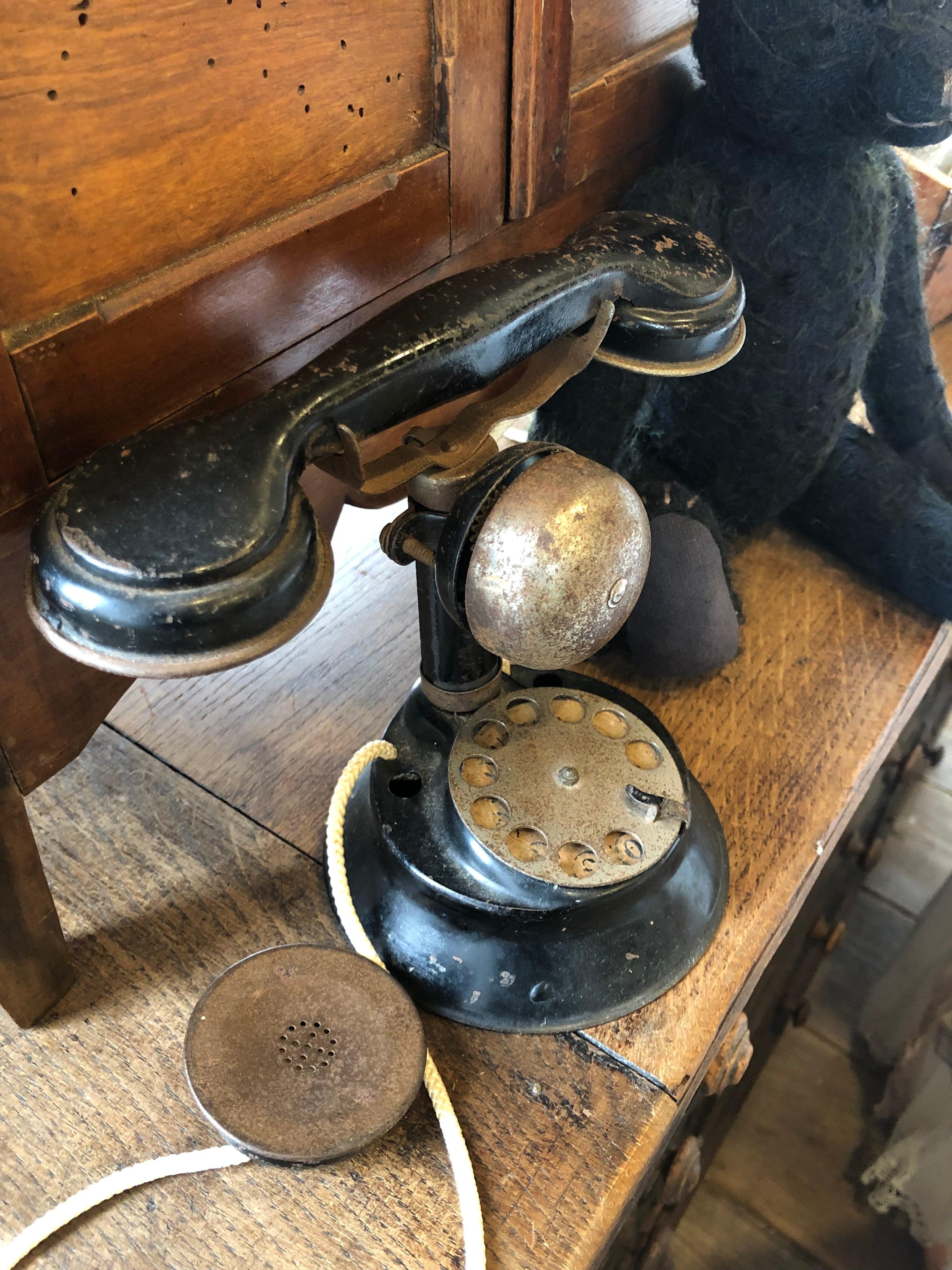 フランスアンティーク おもちゃの黒電話