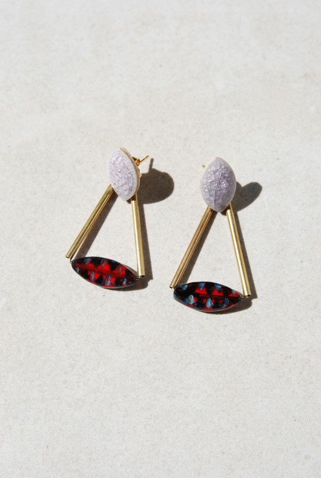ピアス: Czech Beads &陶製パーツ[2WAY] 「コスモスの季節」