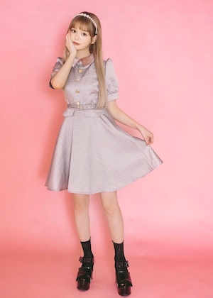 【ManonMimie】Mulch Button Jacquard Dress