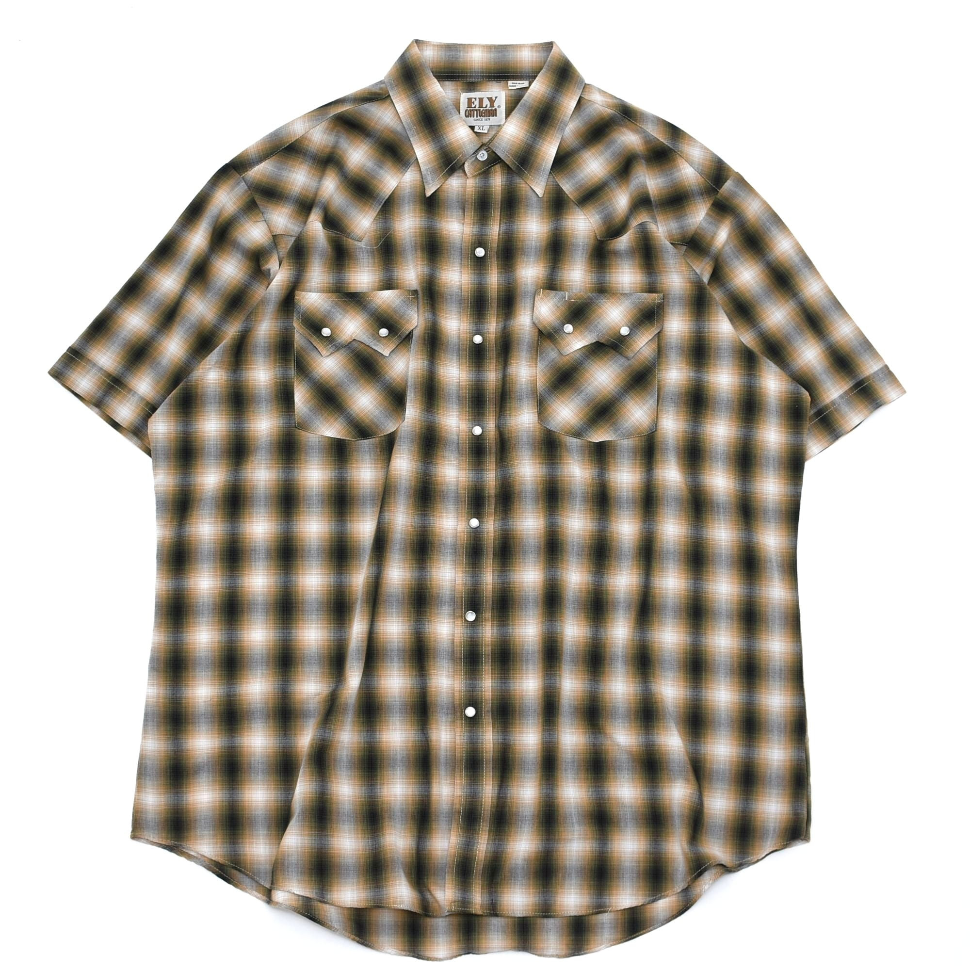 ELY CATTLEMAN ombre check western shirt