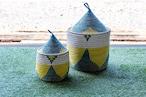 とんがり帽子のふたつきカゴ/ブルーRegular(インテリア・アウトドア・リビング・リネン)
