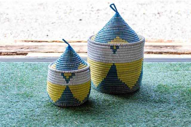 とんがり帽子のふたつきカゴ/ブルーMini(インテリア・アウトドア・コーヒー・キッチン・小物入れ)