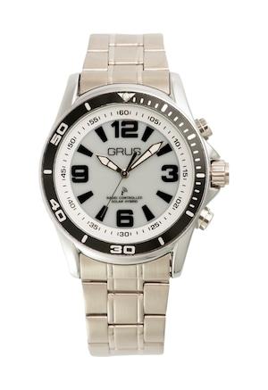 音声で時刻を知らせる ボイス電波腕時計 GRS004 ステンレスベルト