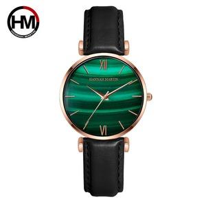 女性用時計グリーンダイヤルレディース日本のクォーツ腕時計防水超薄型ステンレススチールストラップ防水RelojMujer152PH
