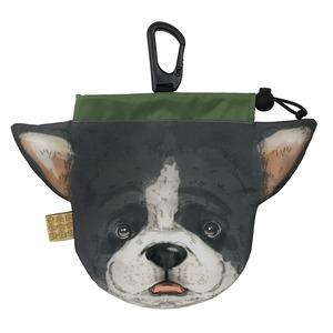 犬のウンチバッグ M【フレンチブル】(白色 x 黒色) 防臭生地 / デオドラント加工布使用