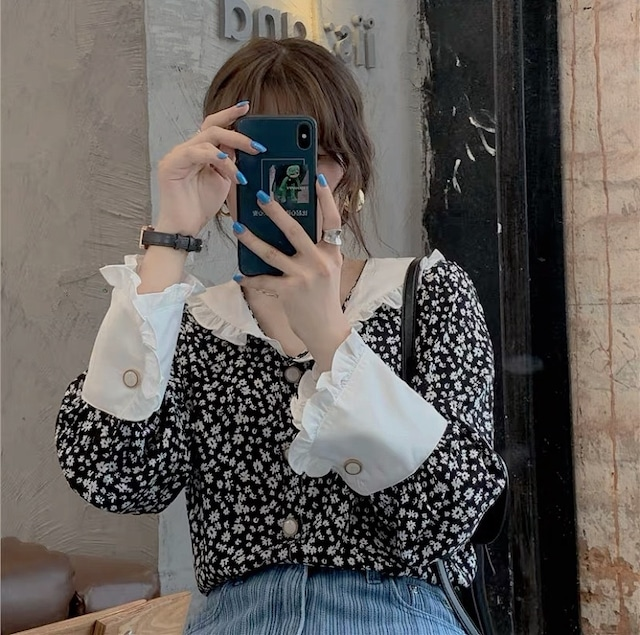 flower rétro frill blouse