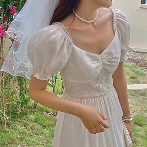 flower waist white long dress