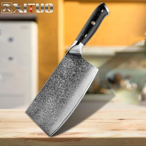 ダマスカス包丁 【XITUO 公式】  菜切り包丁 刃渡り 18cm  VG10  ks20082318