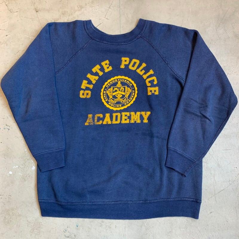 60's ARTEX アーテックス ラグランスウェットシャツ PENNSYLVANIA STATE POLICE ACADEMY ペンシルバニア州立警察学校 ネイビー イエロー XL 希少 ヴィンテージ  BA-1240 RM1609H