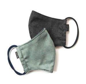 【新作夏用プリントデニムマスク2枚セット 吸水速乾COOLMAX使用 日本製】ブラック×ミント色