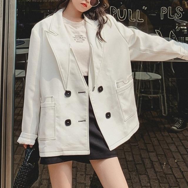 レディースジャケット ホワイト ピーコックブルー 長袖ジャケット レディース カジュアル 大人 大きい おしゃれ 韓国風