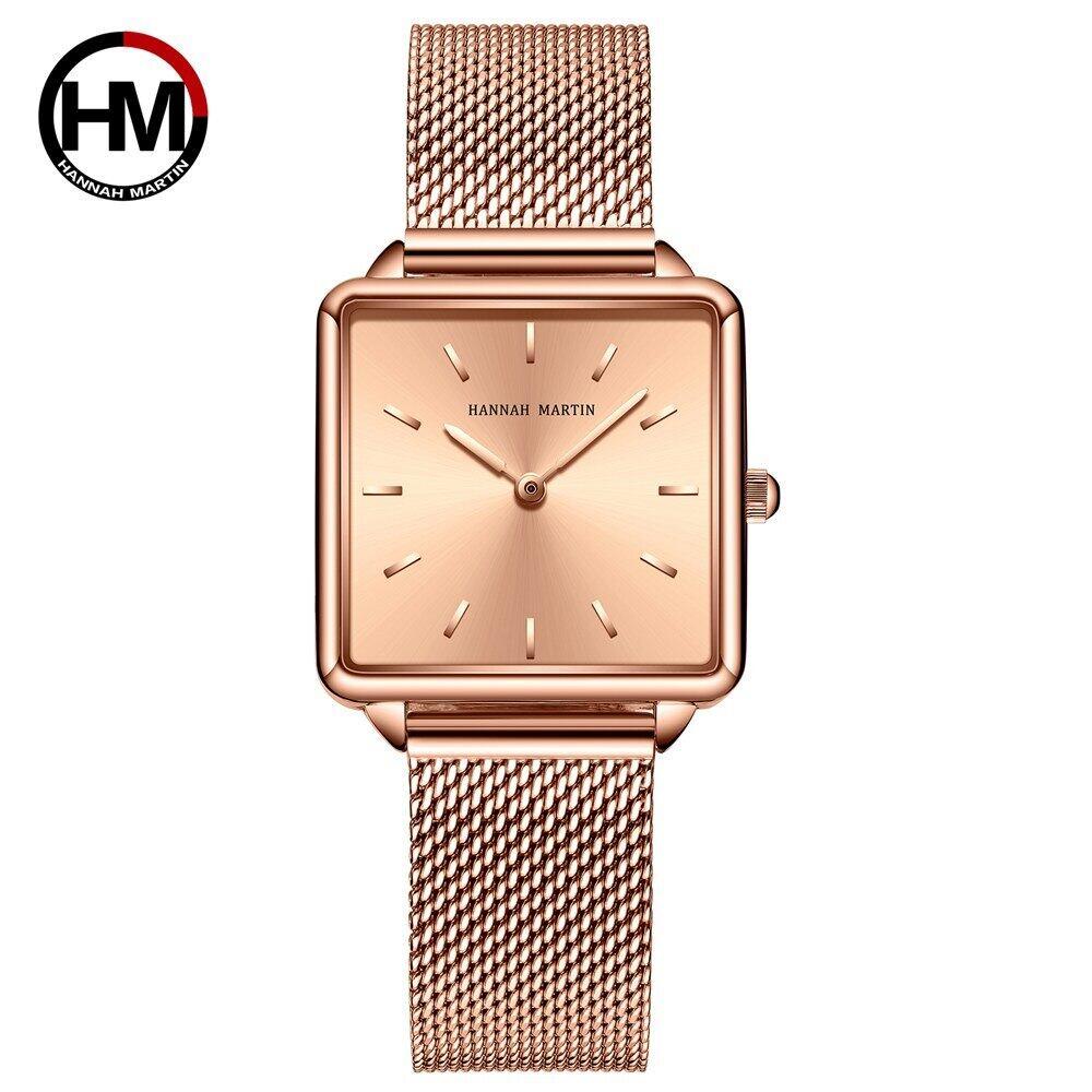 本革ストラップ日本クォーツムーブメントHM-108女性シンプルなデザインのトップの高級ブランド腕時計レディーススクエア腕時計108-F-WFF