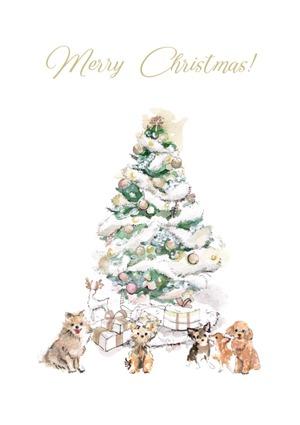 クリスマスカード(ゴールドの封筒)犬とクリスマスツリー