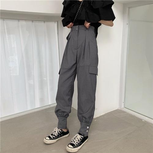 裾ボタン タックパンツ ハイウエスト 韓国ファッション レディース パンツ ズボン シンプル カーゴパンツ ガーリー レトロ DTC-619802105650_p