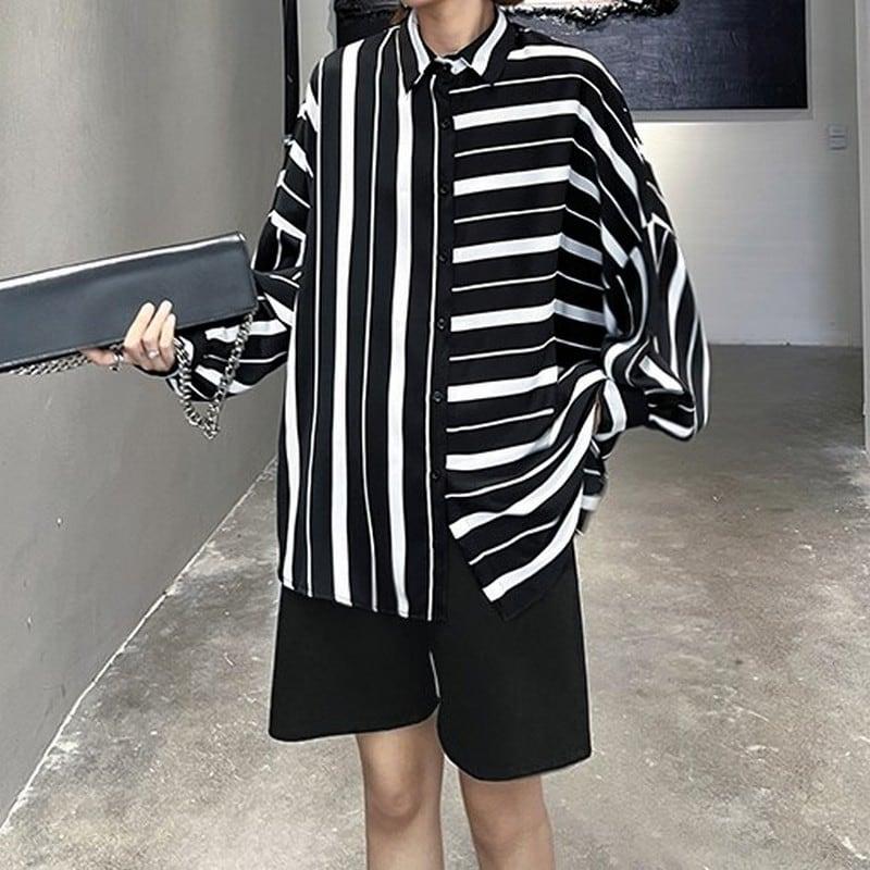 香港風ストライプシャツ   1-481