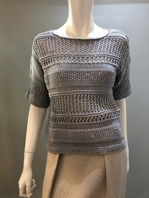 H.A.N.D  22801 Col.9732 ローゲージ模様編み半袖ニット イタリア製