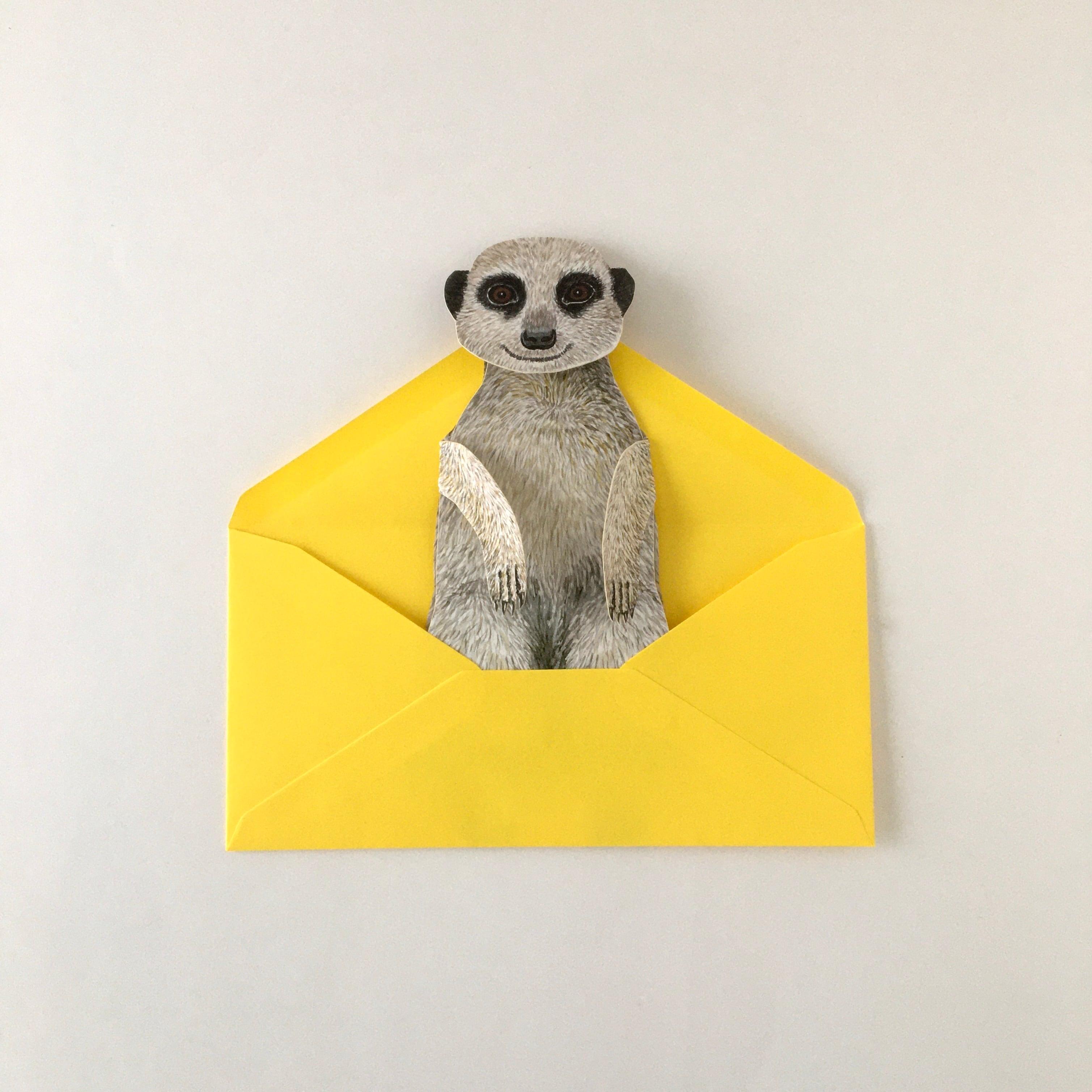 """動物の立体カード「ミーアキャット」 Animal Folding Card """"Meerkat"""""""