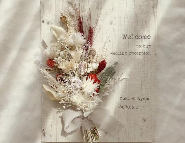 赤ふきの白無垢をイメージしたスワッグ付きボード │花束 和風 フォトプロップス