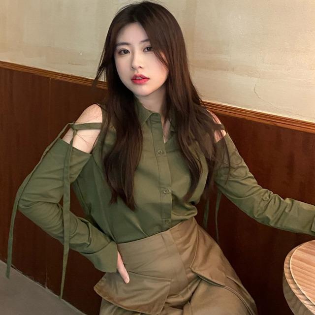 【トップス】ファッション長袖シングルブレストボウタイシャツ52317685