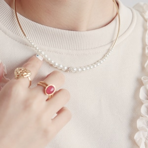 NECKLACE || 【通常商品】 SIMPLE PEARLS NECKLACE WITH ZIRCONIA || 1 NECKLACE || GOLD || FAL028