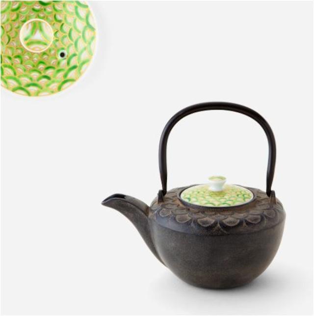 緑青海波鉄瓶急須 南部鉄器×清水焼