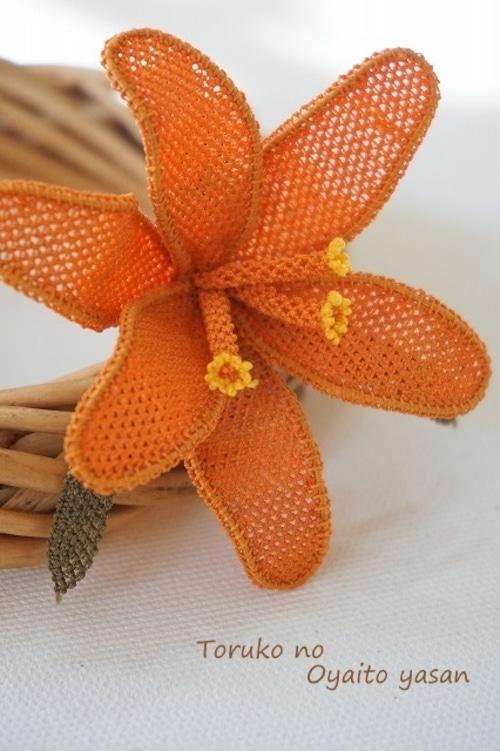 イーネオヤ ひめゆりのブローチ オレンジ系:NaBr1-H2