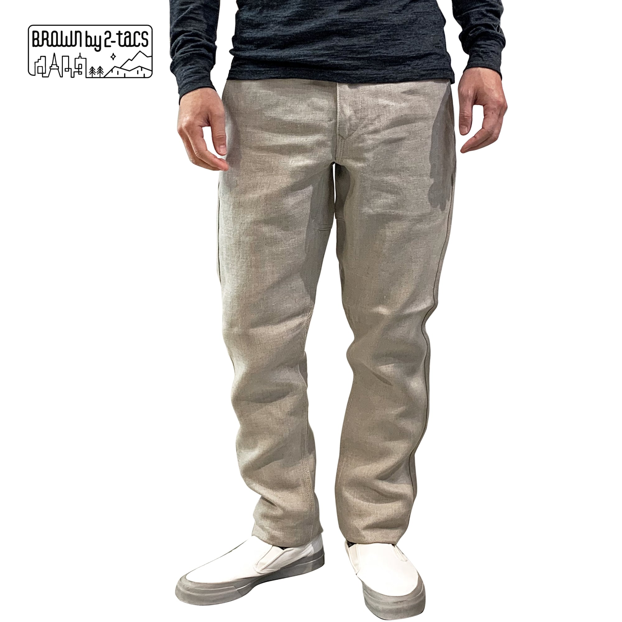 """BROWN by 2-tacs    B23-P001   """"TAPERED""""   Linen PANTS"""