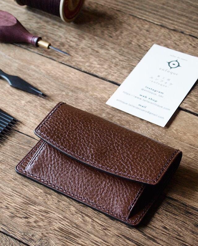 手縫い仕立てのコインケース カード入れ付き