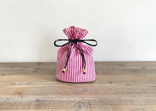 ストライプ巾着ポーチ ピンク 小サイズ