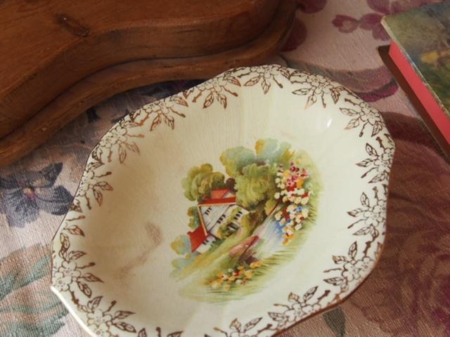 イギリスアンティーク 陶器製コンポート