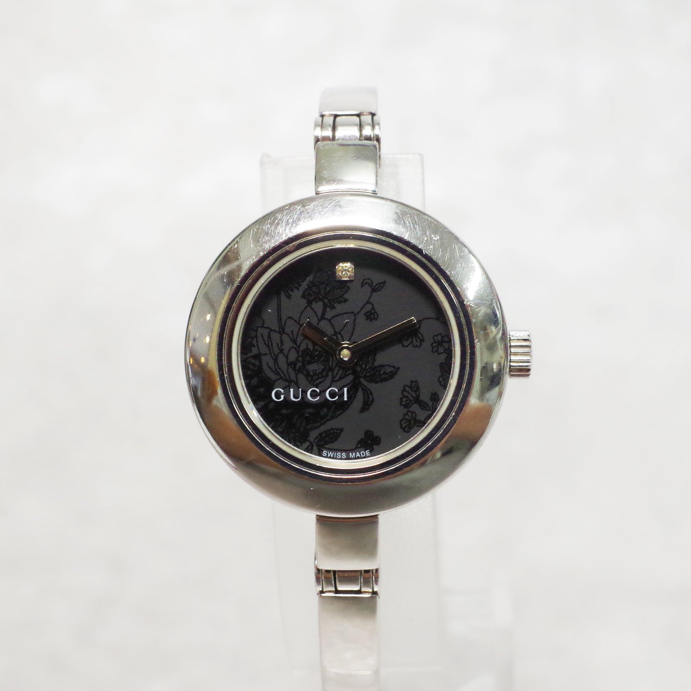 GUCCI グッチ 105 Gサークル フローラ 1Pダイヤ ブラック文字盤 SS クォーツ 腕時計 レディース