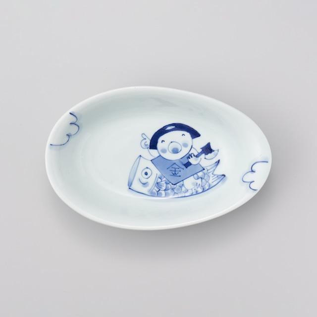 """【青花Kids】""""童話"""" 卵型カレー皿(鯉のぼりと金太郎)"""