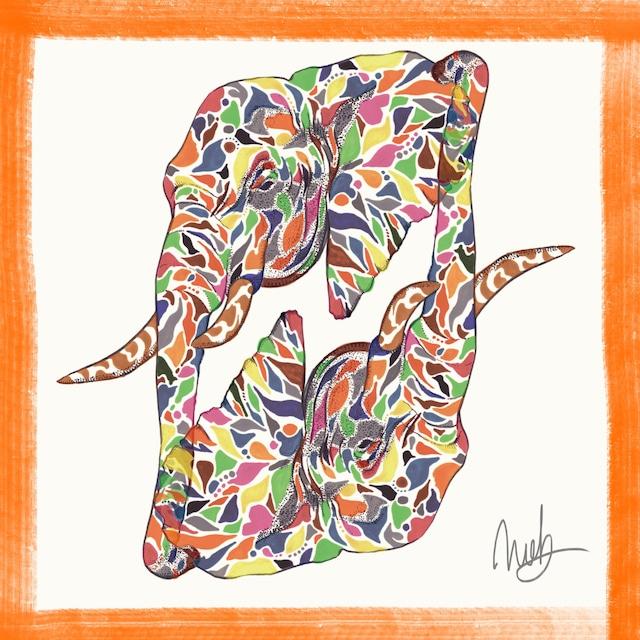 絵画 絵 ピクチャー 縁起画 モダン シェアハウス アートパネル アート art 14cm×14cm 一人暮らし 送料無料 インテリア 雑貨 壁掛け 置物 おしゃれ 象 ゾウ ぞう 動物 現代アート ロココロ 画家 : nob 作品 : eleph