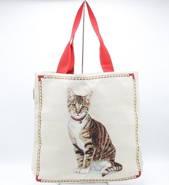 イタリア製 ハンドメイド猫柄アンゴラ織布製トートバッグ