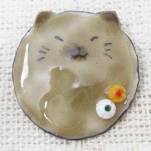 七宝焼 玉猫ブローチ(茶)